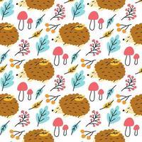 ouriço fofo com folhas, cogumelos. outono vetor padrão sem emenda