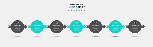 modelo de design de infográfico com ícones e 7 opções ou etapas vetor