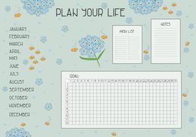planeje sua vida, lista de desejos, notas, meta e rastreador de hábitos para o ano vetor