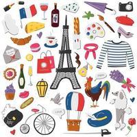 grande conjunto de adesivos de símbolo francês isolado no branco vetor