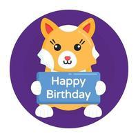 feliz aniversário do gato vetor
