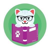 leitura de livro de gato vetor