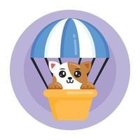 balão de ar de gato vetor