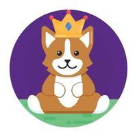 cachorro e cachorrinho coroado vetor