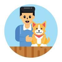 treinador e dono de cães vetor