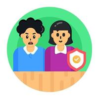 segurança da família e do casal vetor