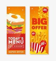 conjunto de pôster oferece fast food delicioso vetor