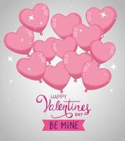 feliz dia dos namorados com balões de hélio em forma de coração vetor