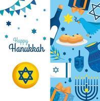 feliz hanukkah com decoração de cenário vetor