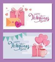conjunto de cartas de feliz dia dos namorados com decoração vetor
