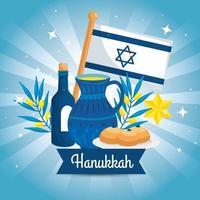 feliz hanukkah com bule e decoração de cenário vetor