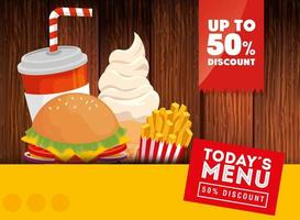 pôster do cardápio de hoje 50 desconto de fast food vetor