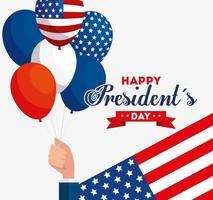 feliz dia do presidente com balões de hélio da bandeira dos EUA vetor