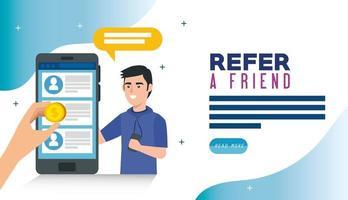 cartaz de indicar um amigo com um jovem e um smartphone vetor