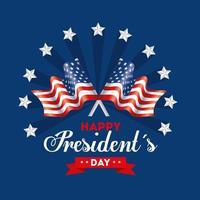 feliz dia dos presidentes com bandeiras eua e estrelas vetor