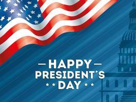 feliz dia do presidente com bandeira eua vetor