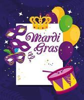 mardi gras máscaras balões coroa e desenho vetorial de tambor vetor