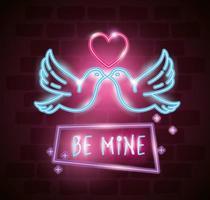 pombas com coração de luz neon vetor