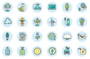 pacote de ícones do conjunto de ecologia vetor