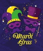 máscaras de mardi gras com desenho vetorial de chapéus vetor