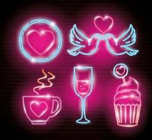 definir ícones do dia dos namorados da luz de néon vetor