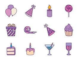 feliz aniversário conjunto de ícones vetoriais vetor