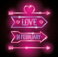 dia dos namorados com setas e decoração de luzes de néon vetor