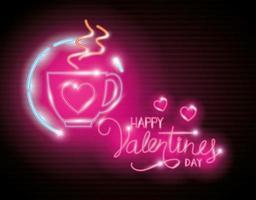 feliz dia dos namorados com uma xícara de café de luzes de néon vetor