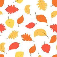 sem costura padrão colorido de outono com ilustração vetorial de folhas. vetor