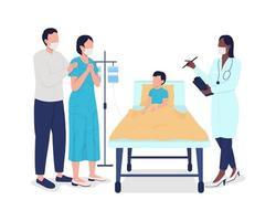crianças hospitalização personagens de vetor de cor semi-plana