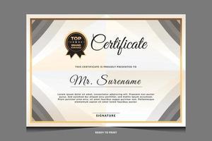 design de modelo de certificado de luxo elegante vetor