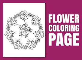 página do livro de colorir floral para adultos e crianças. página para colorir vetor
