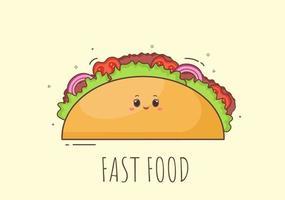 vetor de fundo de fast food de taco fofo