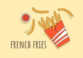 vetor de fundo de fast food de batatas fritas fofas