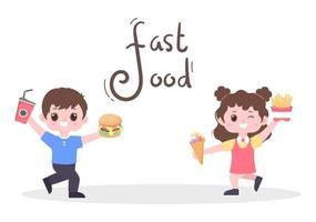 uma criança está comendo um vetor de fundo de fast food