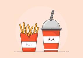 Batatas fritas fofas e vetor de fundo de fast food de cola
