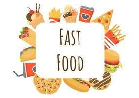 conjunto de vetor de fundo de fast food