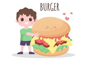 conjunto de vetor de fundo de hambúrguer, coca-cola e batatas fritas fast food