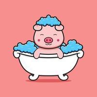 porco fofo tomando banho ilustração do ícone dos desenhos animados vetor