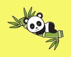 O panda fofo dormindo na ilustração do ícone do desenho animado de bambu vetor