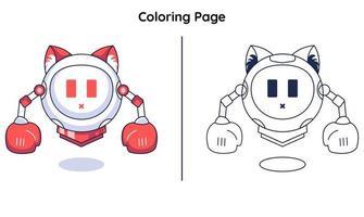 Robo fofo com páginas para colorir. adequado para crianças vetor