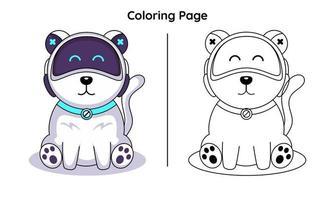 cão robô fofo com páginas para colorir. adequado para crianças vetor