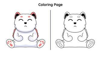 coelho fofo com páginas para colorir. adequado para crianças vetor
