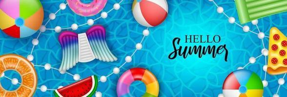 Olá banner de verão com inflável colorido vetor