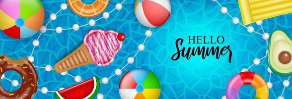 Olá banner de verão com infláveis no fundo da água vetor