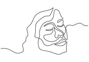cartaz abstrato rosto de mulher em uma linha contínua vetor