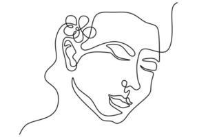 rosto de mulher com flor rosa vetor