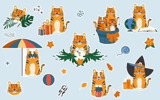 conjunto de adesivos com o personagem tigre fofo de desenho animado vetor