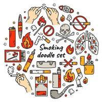 Ícones do vetor de fumar cigarro conjunto de maus hábitos