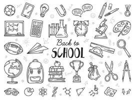 volta às aulas educação conjunto de ícones de doodle vetor